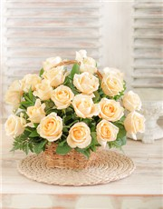 Picture of Cream Roses in a Woven Basket!