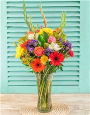 Picture of Bright Flowers in a Glass Vase!