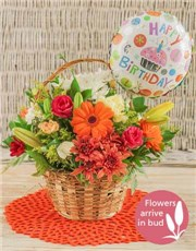 Picture of Basket of Bright Country Flowers with Balloon!