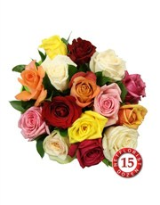 15 Mixed Roses in Cellophane!