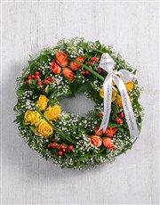 Picture of Orange and Yellow Rose Wreath!
