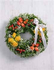 Picture of Orange & Yellow Rose Wreath!