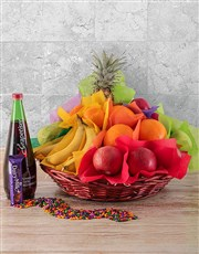 Picture of Seasonal Fruit and Sparkling Juice Gift Basket!
