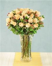 Picture of Cream Roses with Hypericum in Vase!