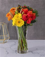 Picture of Roses Lilies and Gerbera Vase!