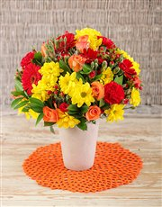 Picture of Red and Yellow Mix of Flowers!