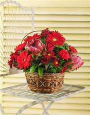 Picture of Red Seasonal Flowers in a basket!