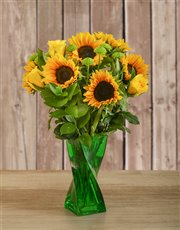 Picture of Roses & Sunflowers in a Green Twisty Vase!