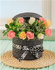 Picture of Pastel Roses in a Hatbox!