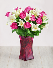 Picture of Roses and Lilies in Pink Flair Vase!
