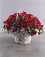 Picture of Darling Heart 100 Red Rose Basket!