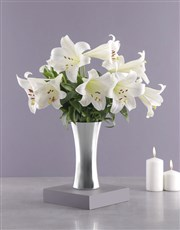 Picture of St Joseph Lilies in Silver Vase!
