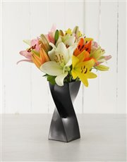 Picture of Mixed Lilies in a Black Twisty Vase!