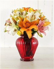 Picture of Mixed Asiflorum Lilies in Lantern Vase!