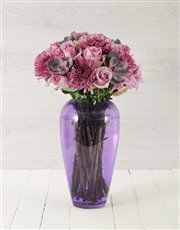 Picture of Roses & Succulents in Purple Bullet Vase!