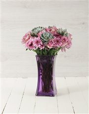 Picture of Roses & Succulents in Purple Square Vase!