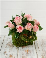 Picture of Pink Roses in a Moss Basket!