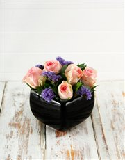 Picture of Pink Roses in a Black Pottery Vase!