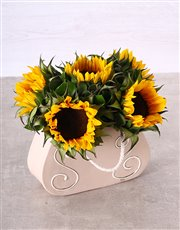 Picture of Sunflowers in a Ceramic Handbag!