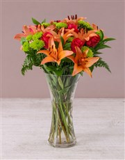 Picture of Pink Lilies and Cerise Roses in a Vase!