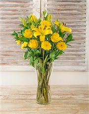 Picture of Yellow Gerbera Daisy Lily and Rose Vase!