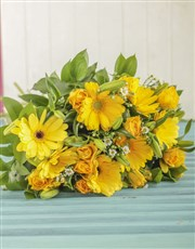Picture of Bouquet of Yellow Roses and Gerberas!