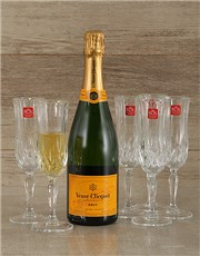 Picture of Veuve Clicquot Brut Champagne with Crystal Glasses!