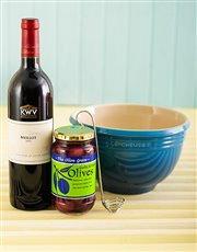 Picture of Le Creuset Mixing bowl   Caribbean Blue with Wine!
