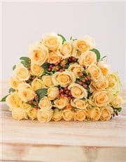 Picture of Cream Roses in Brown Wrapping!