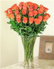 Picture of Orange Roses In a Glass Vase!