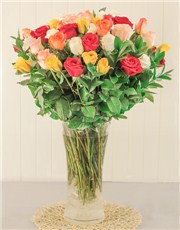 Picture of Mixed Roses in a Glass Vase!
