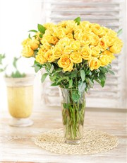 Picture of Yellow Roses in a Vase!
