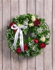 Picture of Red and White Rose Funeral Wreath!