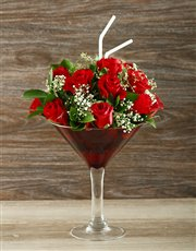Picture of Uniquely Red Rose Cocktail Vase!