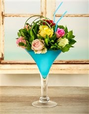 Picture of Mixed Rose Arrangement in a Cocktail Vase!