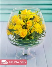 Picture of Yellow Flowers in a Brandy Vase!