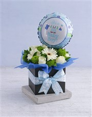 Picture of Baby Boy Floral Box with Balloon!