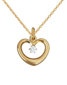 jewellery: 9KT Yellow Gold Open Puff Heart Pendant !
