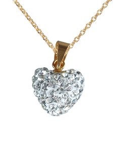 jewellery: 9KT Yellow Gold Heart Pendant with clear crystals!