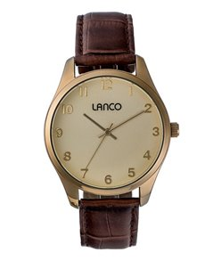 jewellery: Lanco Gents Round Yellow Gold Plated Watch!