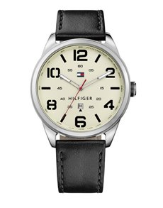 watches: Tommy Hilfiger Black Leather Gents Watch!