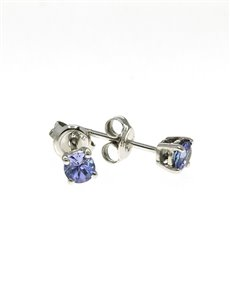 jewellery: 9kt White Gold 0,75ct Round Tanzanite Studs!