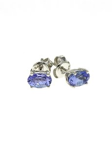 jewellery: 9kt White Gold 0,95ct Oval Tanzanite Studs 30901!