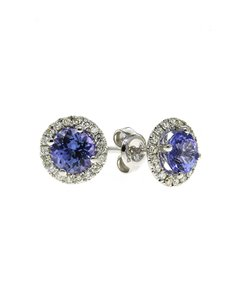 jewellery: 9kt White Gold 1,30ct Round Tanzanite and Diamond !