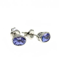 jewellery: 9kt White Gold Oval 0,95ct Tanzanite Studs!