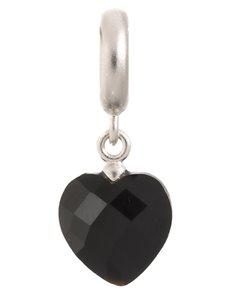 jewellery: Endless Black Heart Cut Drop Silver Charm!