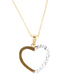 jewellery: 9KT Yellow And White Diamond Cut Heart Necklace!