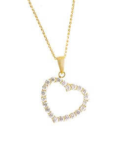 jewellery: 9ct Yellow Gold Open Heart Dangling Necklace!