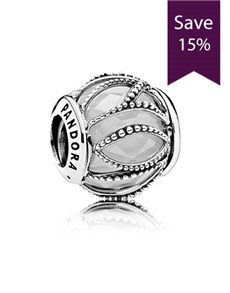 jewellery: Pandora Abstract Silver and White Charm!