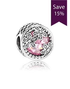 Pandora Silver Pink Daisy Charm